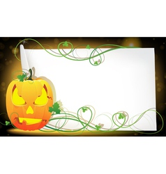 Pumpkin monster and a sheet of paper vector image