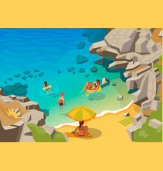 sea lagoon with a small beach and swimming people vector image vector image