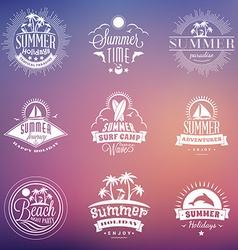 Set of retro summer holidays vintage labels or vector