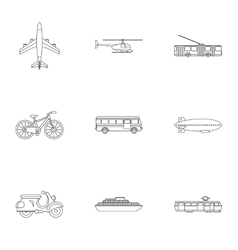 Transport for movement icons set outline style vector
