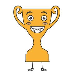 Trophy cup kawaii character vector