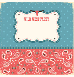 wild west party card for text color background vector image vector image