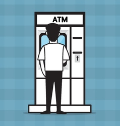 Atm and a man vector