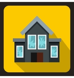 House with broken windows icon flat style vector