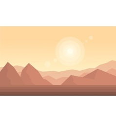 Silhouette of dessert and hill landscape vector