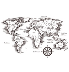 Sketch world map template vector