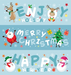 Christmas Banner Santa Claus and Friends Lettering vector image