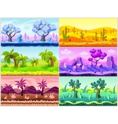 Cartoon landscape collection vector