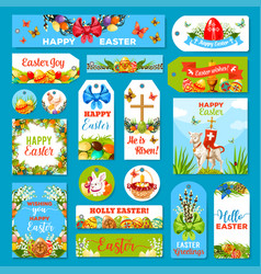 Easter holiday tag and label set design vector