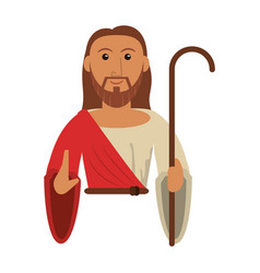 Portrait jesus christ holding stick vector