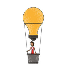 color pencil ligth bulb hot air balloon with woman vector image