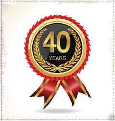 40 years anniversary golden label with ribbon vector