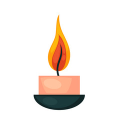 Burning small decorative pink candle in bowl vector