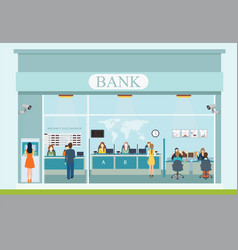 Bank building exterior and bank interior vector