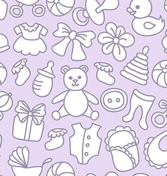 Baby toys and elements seamless pattern vector