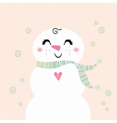 Snowman girl isolated on dotted background vector