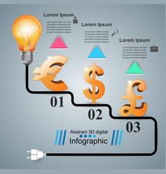 3d infographiceuro dollar british pound icon vector