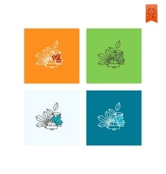 Leaves with ribbon for text vector