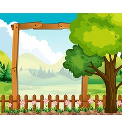 Wooden frame with nature background vector