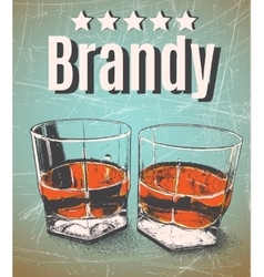 Brandy in glasses on grunge background vector