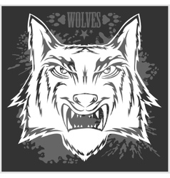 Retro wolf mascot athletic design complete with vector