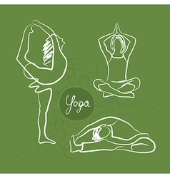 Set of yoga poses green background vector