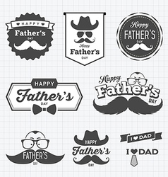 Happy Father day labels logo black and white vector image