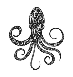Typography lettering octopus vector
