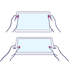 Woman hands keeps tablet vector