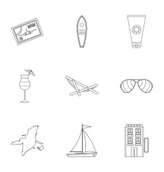 Attractions of miami icons set outline style vector