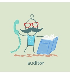 auditor with the book and phone vector image vector image