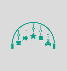 Baby arc with hanged toys icon vector
