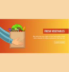 Bag vegetables banner horizontal cartoon style vector