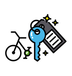 Bicycle rental icon colorful black outline vector