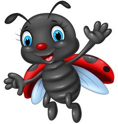 Cartoon happy ladybug waving vector