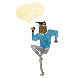 Cartoon man jogging on spot with speech bubble vector