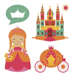 Castle and cute princess set vector