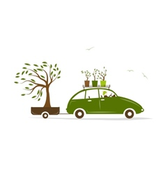 Cottager driving green car with tree in trailer vector image