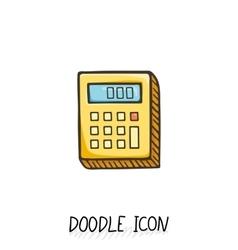 Doodle calculator icon vector