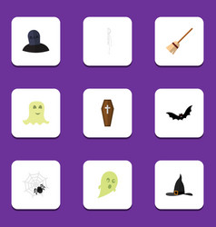Flat icon halloween set of skeleton phantom vector