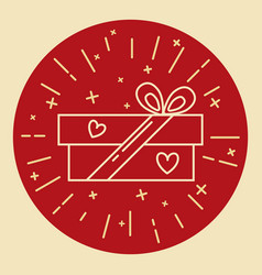 gift box icon in thin line style vector image vector image