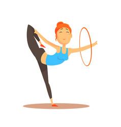 Girl doing gymnastics dance with hoop circus or vector