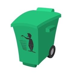 Green garbage trash bin cartoon icon vector