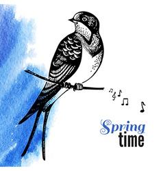 Hand drawn sketch bird vector image