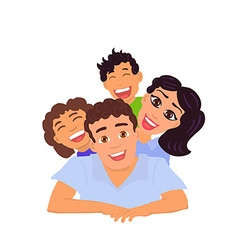 Happy family dad mom daughter and son vector