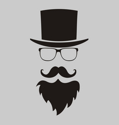hipster elements hat glasses beard and mustache vector image vector image