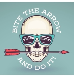 Hipster skull with geek sunglasses and arrow bite vector