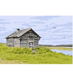 House at the river vector
