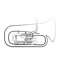 Isolated tuba outline musical instrument vector