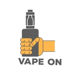 Logo electronic cigarette in hand vector